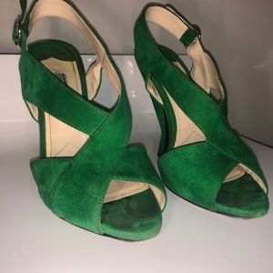 Authentic Prada Runway Kelly Green Suede Heel